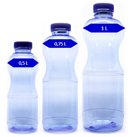 Für Sprudel geeignete lebensmittelechte Abfüllflasche mit großer Trinköffnung